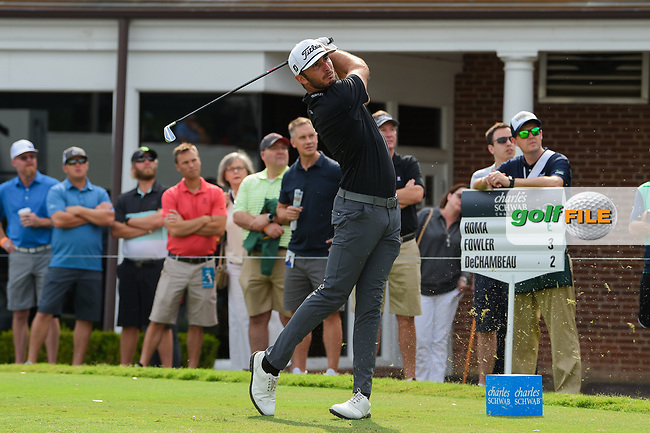Max Homa (USA) watches his tee shot on 17 during round 1 of the 2019 Charles Schwab Challenge, Colonial Country Club, Ft. Worth, Texas,  USA. 5/23/2019.<br /> Picture: Golffile | Ken Murray<br /> <br /> All photo usage must carry mandatory copyright credit (© Golffile | Ken Murray)