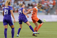 Morgan Brian (6) of the Houston Dash holds back Becky Edwards (14) of the Orlando Pride from the ball on Friday, May 20, 2016 at BBVA Compass Stadium in Houston Texas. The Orlando Pride defeated the Houston Dash 1-0.