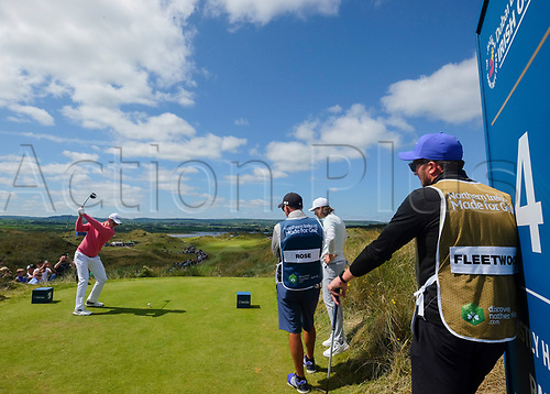 July 8th 2017, Portstewart Golf Club, Portstewart, Northern Ireland; Dubai Duty Free Irish Open Golf Championship, Day 3; Justin Rose (ENG) hits his tee shot on the 4th during the third round of the Dubai Duty Free Irish Open; Rose sitting on -13 at end of 3rd round