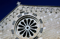 Rose window in the Sainte Marie Majeure Church in Bonifacio, Corsica, France.