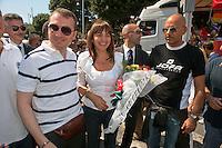 Roma 11 Giugno 2011.EuroPride 2011.La Sfilata del Gay pride, la giornatà dell' orgoglio omossessuale per le vie della città. Il Presidente della Regione Lazio Renata Polverini