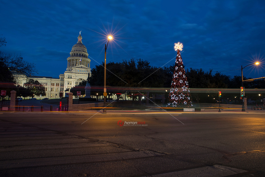 Texas Capitol Christmas Tree in downtown Austin, Texas during December Holiday Season.
