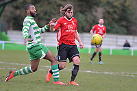 Christian Assombalonga Of Waltham Abbey and Ryan Parsons of Bracknell Town during Waltham Abbey vs Bracknell Town, Bostik League South Central Division Football at Capershotts on 9th February 2019