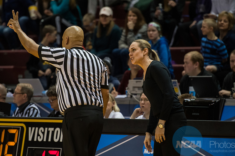 GRAND RAPIDS, MI - MARCH 18: Head coach Carla Berube of Tufts University argues with a referee after a call against her team during the Division III Women's Basketball Championship held at Van Noord Arena on March 18, 2017 in Grand Rapids, Michigan. Amherst College defeated Tufts University 52-29 for the national title. (Photo by Brady Kenniston/NCAA Photos via Getty Images)