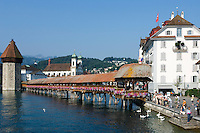 Switzerland, Canton Lucerne, City Lucerne at river Reuss: with Water Tower, Jesuit Church and Chapel Bridge