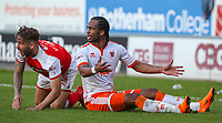 Blackpool's Nathan Delfouneso appeals for a freekick following a challenge from Rotherham United's Joe Mattock<br /> <br /> Photographer Alex Dodd/CameraSport<br /> <br /> The EFL Sky Bet League One - Rotherham United v Blackpool - Saturday 5th May 2018 - New York Stadium - Rotherham<br /> <br /> World Copyright &copy; 2018 CameraSport. All rights reserved. 43 Linden Ave. Countesthorpe. Leicester. England. LE8 5PG - Tel: +44 (0) 116 277 4147 - admin@camerasport.com - www.camerasport.com