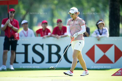 Mika Miyazato (JPN), MARCH 2, 2013 - Golf : Mika Miyazato of Japan at a tee during the third round of the the HSBC Women's Champions golf tournament at Sentosa Golf Club in Singapore. (Photo by Haruhiko Otsuka/AFLO)