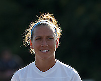 FC Kansas City midfielder Lauren Holiday (12). In a National Women's Soccer League (NWSL) match, Boston Breakers (blue) defeated FC Kansas City (white), 1-0, at Dilboy Stadium on August 10, 2013.