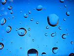 A macro shot of water drops on a blue background