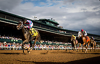 LEXINGTON, KY - OCTOBER 07: Finley'sluckycharm #4, ridden by Brian Hernandez is clear of the field at the wire in the Thoroughbred Club of America Stakes at Keeneland Race Course on October 07, 2017 in Lexington, Kentucky. (Photo by Alex Evers/Eclipse Sportswire/Getty Images)