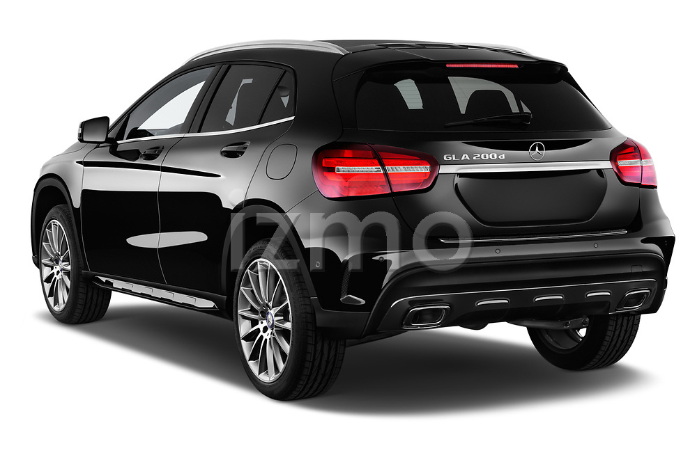 Car pictures of rear three quarter view of 2017 Mercedes Benz GLA AMG Line 5 Door SUV angular rear