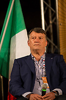 """Pierpaolo Bombardieri, General Secretary of UIL (Italian Labour Union, 3.).<br /> <br /> Rome, 29/07/2020. Today, the three main Italian Trade Unions: CGIL (Italian General Confederation of Labour, General Secretary Maurizio Landini, 1.), CISL (Italian Confederation of Workers' Trade Union, General Secretary Anna Maria Furlan, 2.), UIL (Italian Labour Union, General Secretary Pierpaolo Bombardieri, 3.). held a demonstration in Piazza Santi Apostoli called """"La notte per il Lavoro. Ricostruire il Paese e l'Europa partendo dal buon lavoro"""" (The night for work. Rebuilding Italy and Europe from the good work). Given the crisis caused by the pandemic Covid-19 / Coronavirus, the three General Secretaries asked the Government to block layoffs, an extension of the social safety nets until the end of the year, a tax reform and the fight against tax evasion, the private and public national contractual renewals, investments, health, safety at work, Research, culture, tangible and intangible infrastructures, stable work, digitalization, South of Italy, social security, law on non self-sufficiency, social inclusion and solution of open company crises. Moreover, to urge the government to start an urgent discussion to plan the spending strategy that is about to be launched to use the resources of the EU """"Recovery Fund"""".<br /> <br /> Footnotes & Links:<br /> 1. http://cgil.it/ & https://bit.ly/2E1Al5a (Wikipedia)<br /> 2. https://www.cisl.it /& https://bit.ly/2tj5Txa (Wikipedia)<br /> 3. http://www.uil.it/ & https://bit.ly /2Glf88D (Wikipedia)<br /> 09.02.19 CGIL, CISL, UIL - Trade Unions National Demo in Rome #FuturoalLavoro http://bit.do/fG7GK"""