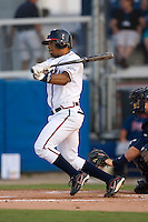 Center fielder L.V. Ware (6) of the Danville Braves follows through on his swing at Dan Daniels Park in Danville, VA, Saturday, August 23, 2008. (Photo by Brian Westerholt / Four Seam Images)