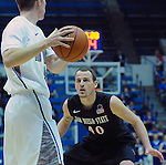 January 20, 2015 - Colorado Springs, Colorado, U.S. -  San Diego State forward, Matt Shrigley #40, on defense during a Mountain West Conference match-up between the San Diego State Aztecs and the Air Force Academy Falcons at Clune Arena, U.S. Air Force Academy, Colorado Springs, Colorado.  San Diego State defeats Air Force 77-45.