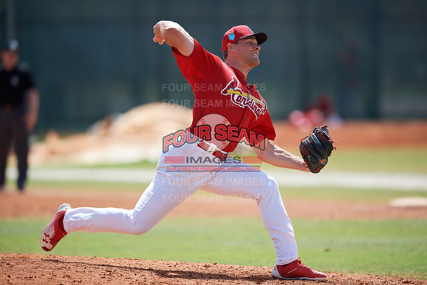 St. Louis Cardinals pitcher Bryan Dobzanski (27) during a Minor League Spring Training game against the Houston Astros on March 27, 2018 at the Roger Dean Stadium Complex in Jupiter, Florida.  (Mike Janes/Four Seam Images)