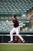 GCL Orioles third baseman Jared Gates (18) hits a single during the first game of a doubleheader against the GCL Twins on August 1, 2018 at CenturyLink Sports Complex Fields in Fort Myers, Florida.  GCL Twins defeated GCL Orioles 7-6 in the completion of a suspended game originally started on July 31st, 2018.  (Mike Janes/Four Seam Images)