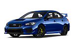 Stock pictures of low aggressive front three quarter view of a 2018 Subaru WRX STI Sport Premium 4 Door Sedan