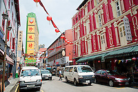 Italianate Architecture and Street Market in Chinatown, Singapore. The street market in Chinatown is hustling and bustling with all manner of tasty food and souvenirs.