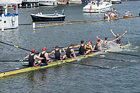 """Henley on Thames, United Kingdom, 8th July 2018, Sunday, """"The Thames Challenge Cup"""", won by, Thames Rowing Club, Celebrate,  """"Fifth day"""", of the annual,  """"Henley Royal Regatta"""", Henley Reach, River Thames, Thames Valley, England, © Peter SPURRIER,"""