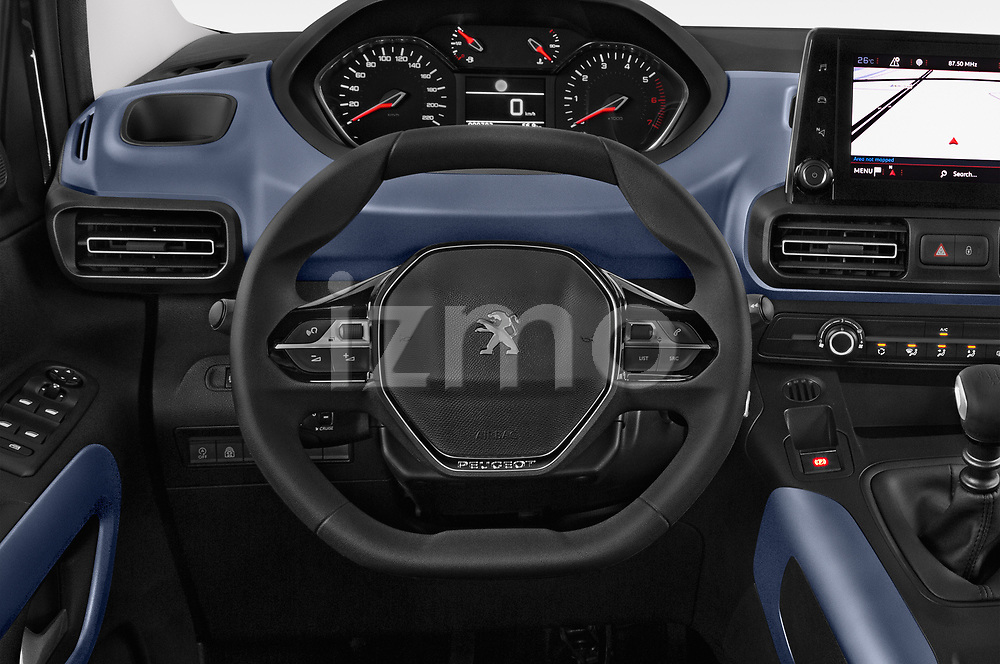 Car pictures of steering wheel view of a 2019 Peugeot Rifter Allure Door Mini Mpv Steering Wheel