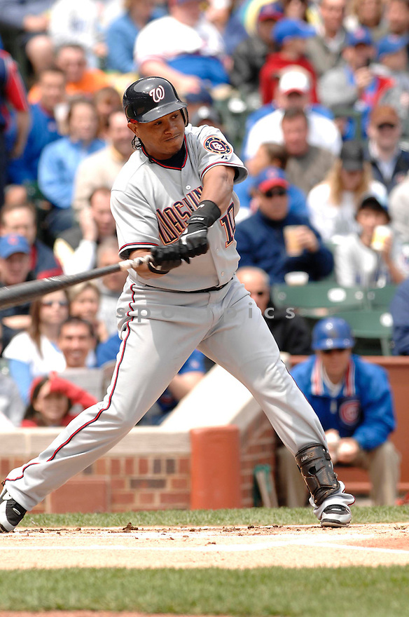 RONNIE BELLIARD, of the Washington Nationals , in action during the Nationals game against the Chicago Cubs in Chicago, Illinois. on May  5,  2007...Cubs win 1-0...DAVID DUROCHIK / SPORTPICS..