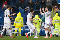 29.03.2014 SPAIN -  La Liga 13/14 Matchday 31th  match played between 5-0 Real Madrid CF vs Rayo Vallecano at Santiago Bernabeu stadium. The picture show Daniel Carvajal Ramos (Spanish Right back of Real Madrid) celebrating his team's goal