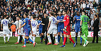 Players from both teams shake hands at the end of the match <br /> <br /> Photographer Andrew Kearns/CameraSport<br /> <br /> The EFL Sky Bet Championship - Leeds United v Bolton Wanderers - Saturday 23rd February 2019 - Elland Road - Leeds<br /> <br /> World Copyright © 2019 CameraSport. All rights reserved. 43 Linden Ave. Countesthorpe. Leicester. England. LE8 5PG - Tel: +44 (0) 116 277 4147 - admin@camerasport.com - www.camerasport.com