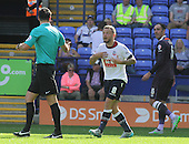 Bolton v Derby. SkyBet Championship. 8/8/15 <br /> <br /> Bolton's Jay Spearing gets marching orders from referee Andrew Madley, Derby's Richard Keogh, right, watches.<br /> <br /> Credit: PHSP/Harry McGuire