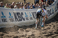 U23 CX World Champion Eli Yserbyt (BEL/U23/Marlux-Napoleon Games) descending into the infamous 'Pit' during the U23 mens race<br /> <br /> CX Superprestige Zonhoven 2016