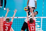 16.09.2019, Lotto Arena, Antwerpen<br />Volleyball, Europameisterschaft, Deutschland (GER) vs. …sterreich / Oesterreich (AUT)<br /><br />Block / Doppelblock Peter WohlfahrtstŠtter / Wohlfahrtstaetter (#3 AUT), Maximilian Thaller (#13 AUT) - Angriff Christian Fromm (#1 GER)<br /><br />  Foto © nordphoto / Kurth