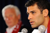 New York Red Bulls new signing Rafael Marquez addresses the media as head coach Hans Backe listens during a New York Red Bulls press conference at Red Bull Arena in Harrison, NJ, on August 03, 2010.