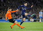 Son Heung-Min of Tottenham closes down Matthew Ryan of Brighton during the premier league match at the Amex Stadium, London. Picture date 17th April 2018. Picture credit should read: David Klein/Sportimage