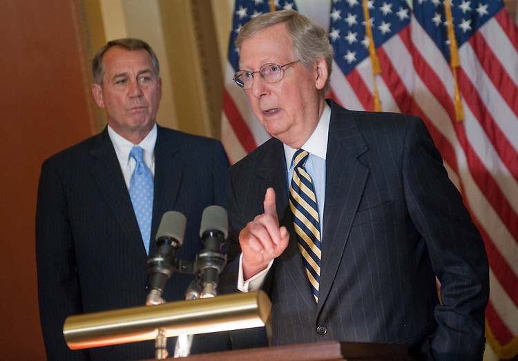 UNITED STATES - FEBRUARY 29:  Speaker of the House John Boehner, R-Ohio; and Sen. Mitch McConnell, R-Ky., speak to the press in the Capitol after meeting with the President. (Photo By Chris Maddaloni/CQ Roll Call)