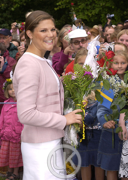 Crown Princess Victoria of Sweden celebrates her 27th birthday at Solliden, near Borgholm, accompanied by King Carl Gustav, Queen Silvia..