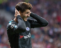 Chelsea´s forward Alvaro Morata lamenting during the UEFA Champions League group C match between Atletico Madrid and Chelsea played at the Wanda Metropolitano Stadium in Madrid, on September 27th 2017.
