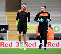 Blackpool's Mark Howard, left, and Blackpool's Myles Boney during the pre-match warm-up<br /> <br /> Photographer Chris Vaughan/CameraSport<br /> <br /> The EFL Sky Bet League One - Burton Albion v Blackpool - Saturday 16th March 2019 - Pirelli Stadium - Burton upon Trent<br /> <br /> World Copyright &copy; 2019 CameraSport. All rights reserved. 43 Linden Ave. Countesthorpe. Leicester. England. LE8 5PG - Tel: +44 (0) 116 277 4147 - admin@camerasport.com - www.camerasport.com