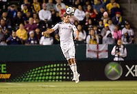 LA Galaxy defender Omar Gonzalez(14)perfectly times a head ball. The LA Galaxy and Toronto FC played to a 0-0 draw at Home Depot Center stadium in Carson, California on Saturday May 15, 2010.  .