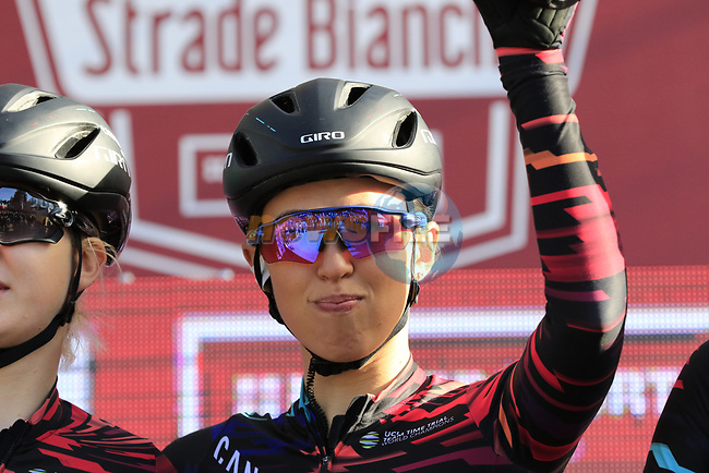 Katarzyna Niewiadoma (POL) Canyon-Sram at sign on before the Strade Bianche Women Elite 2019 running 133km from Siena to Siena, held over the white gravel roads of Tuscany, Italy. 9th March 2019.<br /> Picture: Eoin Clarke | Cyclefile<br /> <br /> <br /> All photos usage must carry mandatory copyright credit (© Cyclefile | Eoin Clarke)