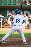 Nick Sell (13) of the Ogden Raptors at bat against the Grand Junction Rockies in Pioneer League action at Lindquist Field on July 6, 2015 in Ogden, Utah. Ogden defeated Grand Junction 8-7. (Stephen Smith/Four Seam Images)