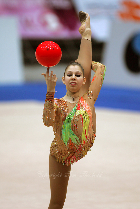 Viktoria Antonova of Ukraine holding scale with balll during qualifications at 2006 Deriugina Cup Grand Prix in Kiev, Ukraine on March 17, 2006. (Photo by Tom Theobald)