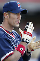 Nomar Garciaparra of the Boston Red Sox before a 2002 MLB season game against the Los Angeles Dodgers at Dodger Stadium, in Los Angeles, California. (Larry Goren/Four Seam Images)