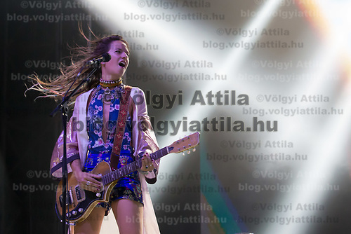 Vocalist Cato van Dijck plays a guitari with her Dutch-New Zealand band My Baby at their concert on the A38 Stage at Sziget Festival held in Budapest, Hungary on Aug. 13, 2018. ATTILA VOLGYI