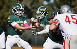SPEARFISH, SD - OCTOBER 10, 2015 -- Ryan Hommell #16 of Black Hills State hands off to Phydell Paris #34 during their college football game against Western State Colorado Saturday at Lyle Hare Stadium in Spearfish, S.D. (Photo by Dick Carlson/Inertia)