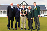 Michael Heeney (Chairman Connacht Golf), Indraneel Talakanti (Radisson Blu Hotel &amp; Spa), Caolan Rafferty (Dundalk), John Ferriter (President elect GUI) and Dr. Kevin Flanagan (Captain Co. Sligo Golf Club) at The West of Ireland Open Championship in Co. Sligo Golf Club, Rosses Point, Sligo on Sunday 7th April 2019.<br /> Picture:  Thos Caffrey / www.golffile.ie
