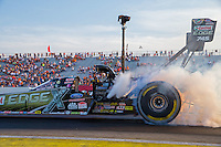 Aug 15, 2014; Brainerd, MN, USA; NHRA top fuel dragster driver Brittany Force during qualifying for the Lucas Oil Nationals at Brainerd International Raceway. Mandatory Credit: Mark J. Rebilas-