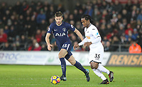 Eric Dier of Spurs & Renato Sanches of Swansea City during the Premier League match between Swansea City and Tottenham Hotspur at the Liberty Stadium, Swansea, Wales on 2 January 2018. Photo by Mark Hawkins / PRiME Media Images.