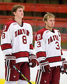 Ian Tallett (Harvard - 8), Alex Biega (Harvard - 3) - The Colgate University Red Raiders defeated the Harvard University Crimson 4-2 (EN) on Saturday, February 20, 2010, at Bright Hockey Center in Cambridge, Massachusetts.