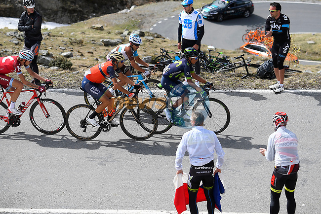 Nairo Quintana (COL) Movistar Team, Vincenzo Nibali (ITA) Bahrain-Merida, Domenico Pozzovivo (ITA) AG2R and Ilnur Zakarin (RUS) Team Katusha Alpecin on the slopes of the Umbrail Pass the final climb during Stage 16 of the 100th edition of the Giro d'Italia 2017, running 222km from Rovetta to Bormio, Italy. 23rd May 2017.<br /> Picture: LaPresse/Fabio Ferrari | Cyclefile<br /> <br /> <br /> All photos usage must carry mandatory copyright credit (&copy; Cyclefile | LaPresse/Fabio Ferrari)