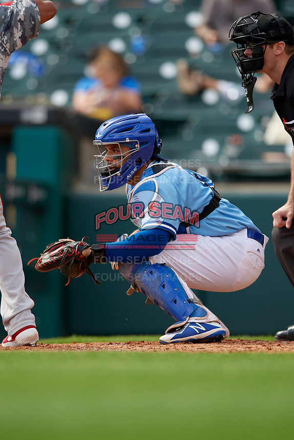 Buffalo Bisons catcher Michael De La Cruz (55) during an International League game against the Pawtucket Red Sox on August 25, 2019 at Sahlen Field in Buffalo, New York.  Buffalo defeated Pawtucket 5-4 in 11 innings.  (Mike Janes/Four Seam Images)