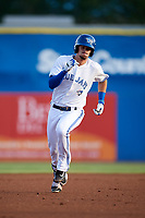 Dunedin Blue Jays second baseman Cavan Biggio (4) running the bases during a game against the St. Lucie Mets on April 19, 2017 at Florida Auto Exchange Stadium in Dunedin, Florida.  Dunedin defeated St. Lucie 9-1.  (Mike Janes/Four Seam Images)